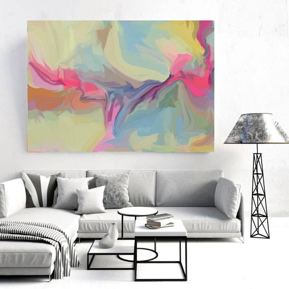 Artistic expression 3, Green Pink Blue pastel colors Art, Abstract painting, Colorful painting, modern art, Canvas Art Print, Fluid painting