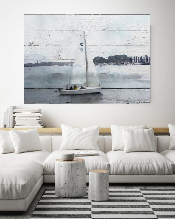 "The Dark, Blue Sea, Beach Decor, Boat, Coastal Wall Canvas Art, Blue Black & White, Sea Canvas Print 80"" by Irena Orlov"