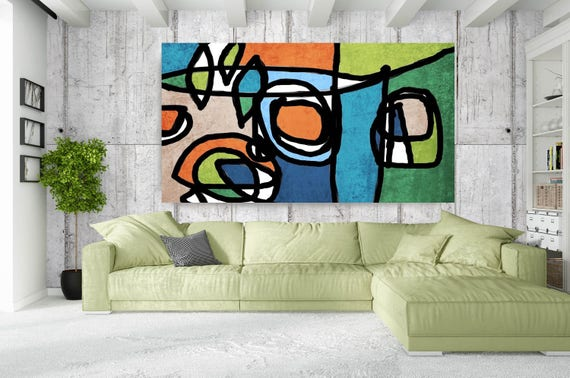 "Vibrant Colorful Abstract-0-40, Mid-Century Orange Blue Green Canvas Art Print, Mid Century Modern Canvas Art Print up to 72"" by Irena Orlov"