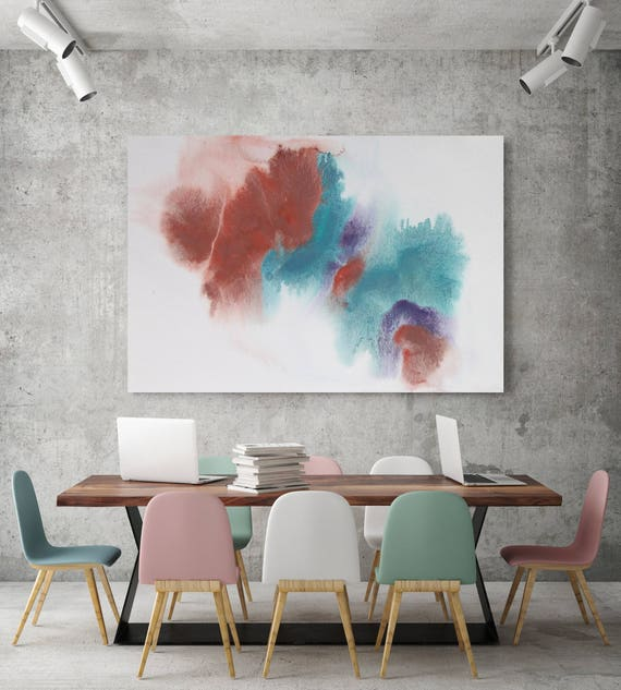 "Watercolor Coastal Abstract 68. Watercolor Abstract Red Blue Canvas Art Print, Watercolor Painting Print up to 72"" by Irena Orlov"