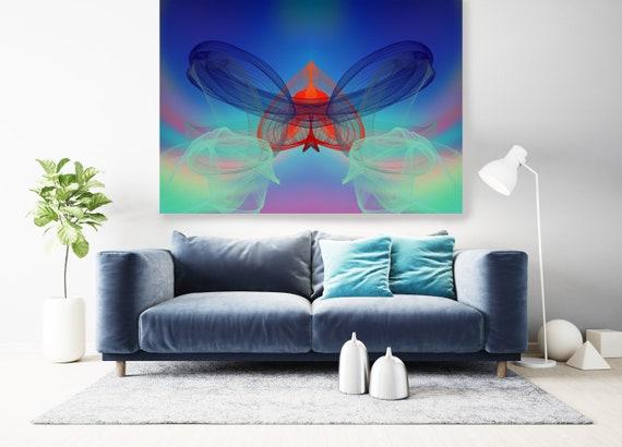 Surrealist Art, New Media Pattern Art, Abstract Painting, Blue Abstract Art, Large Canvas Art Symmetrical pattern 1