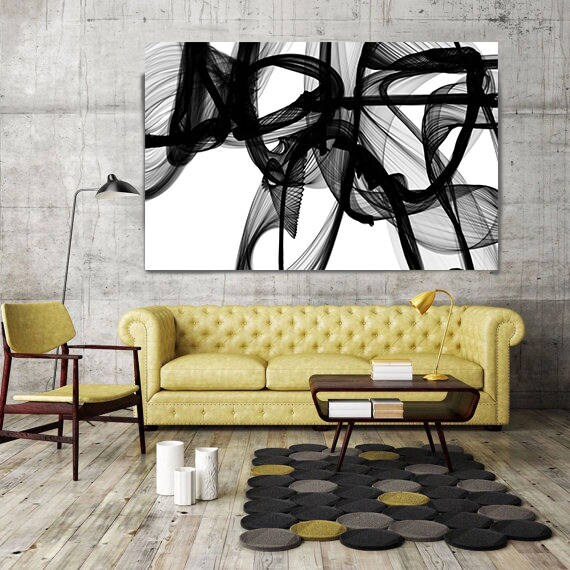 "ORL-10322-10-44t The Invisible World-Movement15_14_06. Abstract Black and White, Contemporary Canvas Art Print up to 72"" by Irena Orlov"
