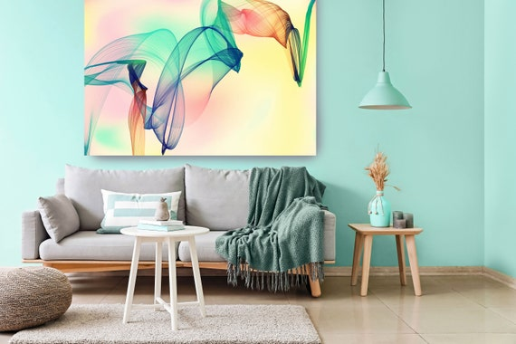 Yellow Green Abstract Flow Abstract Wall Art Decor Abstract Canvas Print Modern Trendy Wall art Luxury Abstract Painting, Minimalist