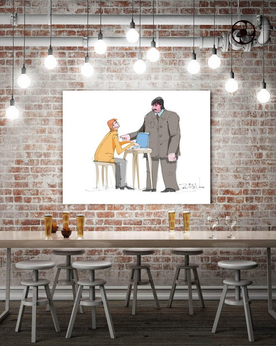 "Boss and Me, People Illustration art print. Office White Yellow Grey Large Canvas Art Print, Wall Decor up to 72"" by Zeev Orlov"