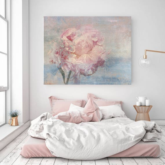 """Elegant Flower, Shabby Floral. Cottage Chic, Pink Blue Gray Rustic Peony, Shabby Chic Canvas Art Print up to 72"""" by Irena Orlov"""
