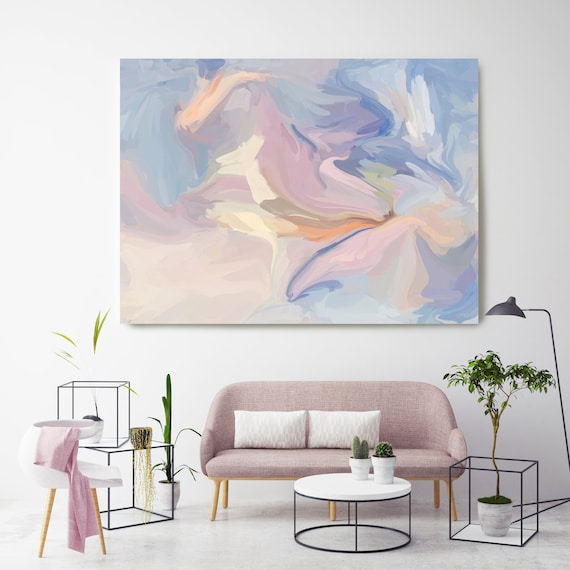 Arctic Drift, Pink Blue pastel colors Art, Abstract painting, Blush Pink Light  Blue painting, modern art, Canvas Art Print, Fluid painting