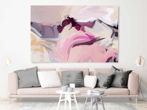In silence, Blush Pink Beige Pastel Colors Art, Abstract painting, Neutral colors painting, modern art, Canvas Art Print, Fluid painting