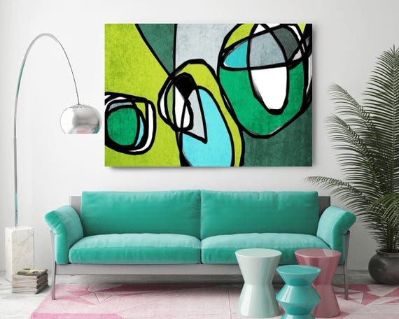 "Vibrant Colorful Abstract-68. Mid-Century Modern Green Blue Canvas Art Print, Mid Century Modern Canvas Art Print up to 72"" by Irena Orlov"