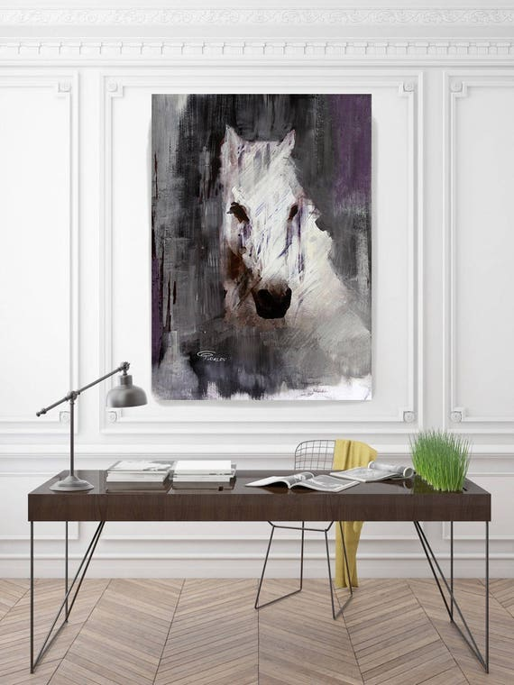 "Queen. Extra Large Horse, Unique Horse Wall Decor, White Purple Rustic Horse, Large Contemporary Canvas Art Print up to 72"" by Irena Orlov"