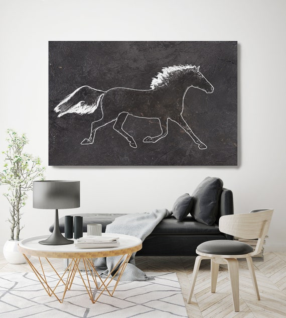 Guns and Roses Horse. Large Horse, Horse Wall Decor, Black Rustic Horse, Western Horse art, large horse canvas print, large horse canvas