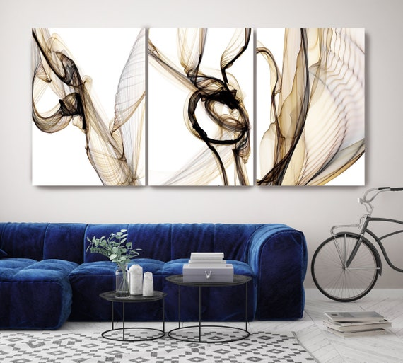 Black Brown Yellow TRIPTYCH canvas prints -3 PANELS Stretched Canvas Wall Art, Canvas Art Print, Abstract Black Brown Yellow Wall Decor