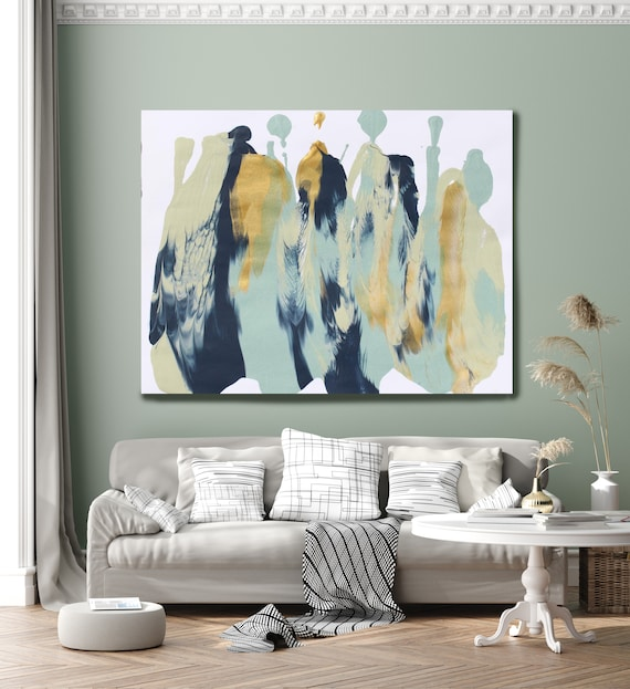 Feather Flow Pale Turquoise Gold Blue Abstract Painting  Modern Art Abstract Painting Extra Large Painting Extra Large Abstract Canvas Print