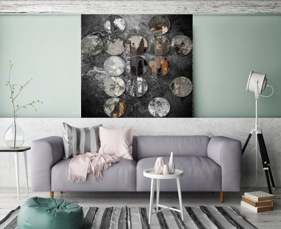 Industrial Mixed Media Circles 808-296, Extra Large Abstract Original Oil/Acrylic Canvas Art, Grey, Black Abstract Rustic Art by Irena Orlov