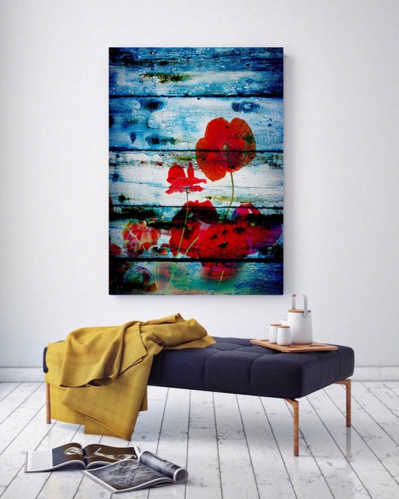 "Poppies on blue. Floral Painting, Blue Red Abstract Art, Wall Decor Abstract Colorful Contemporary Canvas Art Print up to 72"" by Irena Orlov"