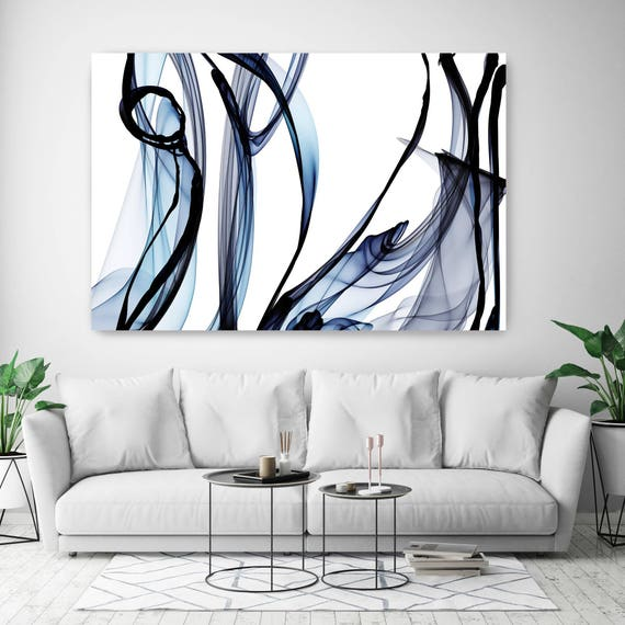 "10287-10-27 BlueTech 2017-04-14, New Media Art, Blue Abstract Canvas Print, Extra Large Abstract Canvas Art Print up to 90"" by Irena Orlov"