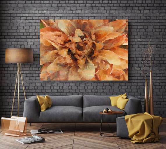 """ORL-8054-2 Nostalgia. Floral Painting, Orange Abstract Art, Large Abstract Colorful Contemporary Canvas Art Print up to 72"""" by Irena Orlov"""