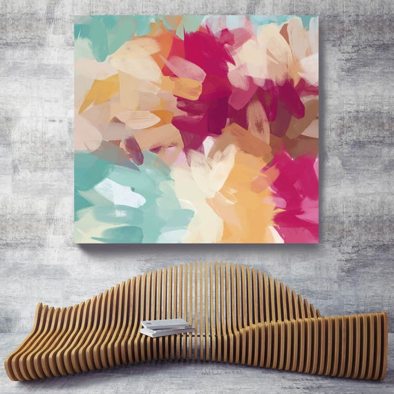 """Serenade. Blue, Teal, Magenta Abstract Art, Wall Decor, Large Abstract Colorful Contemporary Canvas Art Print up to 48"""" by Irena Orlov"""
