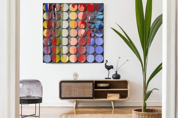 Geometric Abstract Painting, Circles Abstract Art, Red Green Circles, Large Canvas Art Print, Visual Experience 13, Abstract Canvas Print