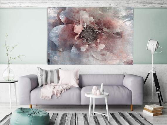"""ORL-8047-1 Blushing Pink. Floral Painting, Pink Blue Abstract Art, Abstract Colorful Contemporary Canvas Art Print up to 72"""" by Irena Orlov"""