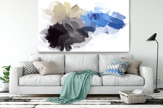 """BLUE AND YELLOW, Abstract Blue Painting Modern Wall Art Painting Canvas Art Print Art Modern White Blue up to 80"""" by Irena Orlov"""
