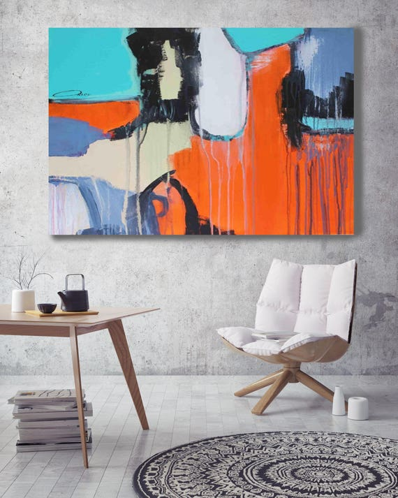 "Abstract 1813. Abstract Paintings Art, Wall Decor, Extra Large Abstract Blue Orange Contemporary Canvas Art Print up to 72"" by Irena Orlov"