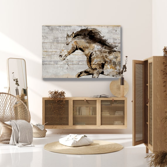 Rustic Horse on Wood, Natural Rustic Horse Art Print on WOOD, Wild Horse Art on Wood Equestrian Farmhouse ART Barn Horse, Farmhouse WALL Art