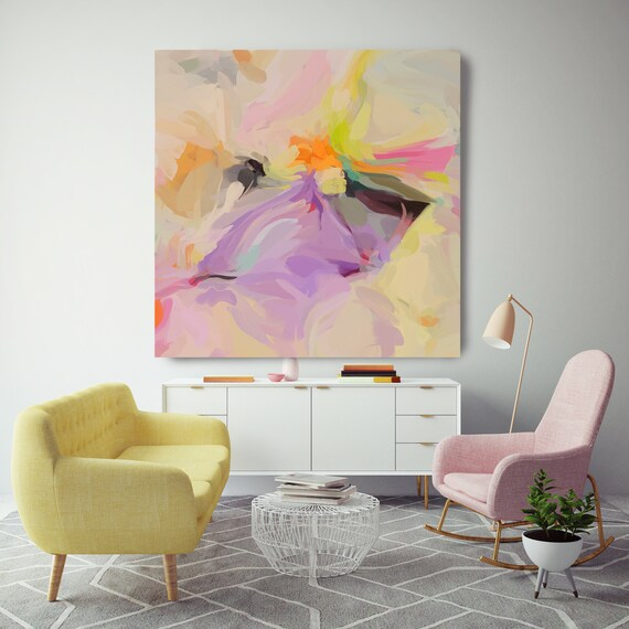 Hypnotic Action Abstract Yellow Orange Original Painting, Contemporary art, Abstract Yellow Painting Print