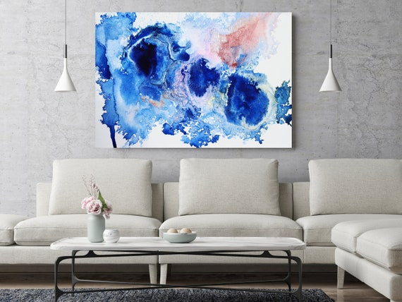 "ORL-11786-2 Blue - abstract watercolor 4.. Watercolor Abstract Red Blue Canvas Art Print up to 72"" by Irena Orlov"