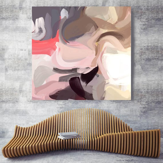 """Industrial Evolution 1. Pink Abstract Art, Wall Decor, Large Abstract Colorful Contemporary Canvas Art Print up to 48"""" by Irena Orlov"""