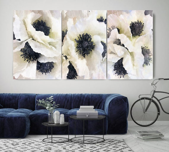 Black and White TRIPTYCH -Set Of 3 - Watercolor Floral Painting Canvas Print, Rustic Watercolor floral Art, Watercolor Poppy