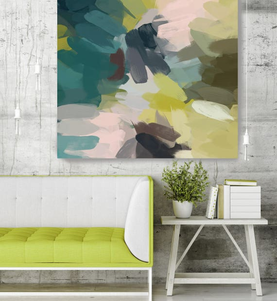 "Keep Calm I-I. Green Blue Abstract Art, Wall Decor, Large Abstract Colorful Contemporary Canvas Art Print up to 48"" by Irena Orlov"