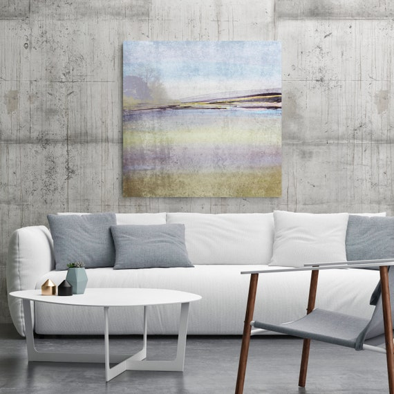 "Abstract Horizon. Huge Rustic Landscape Painting Canvas Art Print, Extra Large Blue Yellow Canvas Art Print up to 50"" by Irena Orlov"