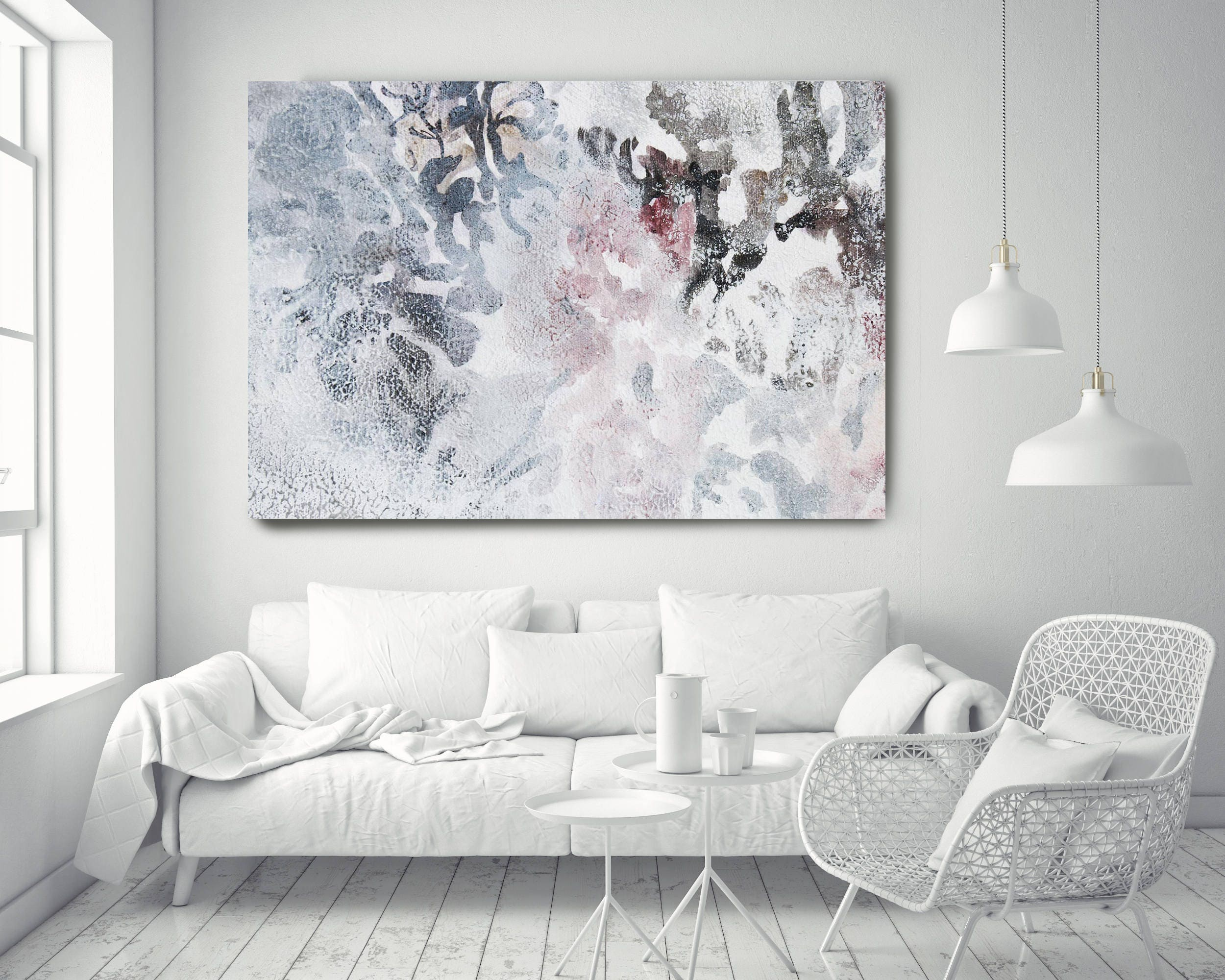 Washed out 4. Floral Painting, Pink White Floral, Washed Large ...