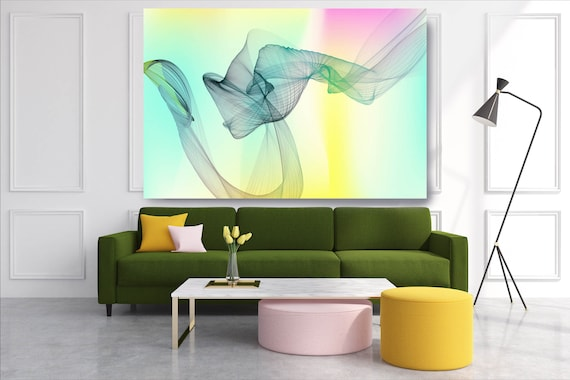 Yellow Aqua Abstract Flow Abstract Wall Art Decor Abstract Canvas Print Modern Trendy Wall art Luxury Abstract Painting, Minimalist Artwork