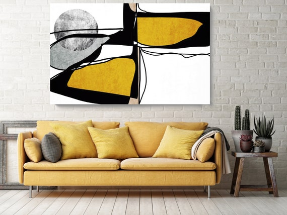 Abstract Line Art 12. Line Art Modern Yellow Canvas Art Print Scandinavian print Minimalist abstract Wall decor Black Yellow Minimalist Art