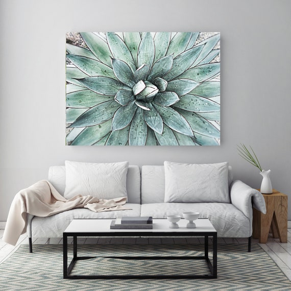 Stunning Agave 1, Teal Succulent Wall Decor, Watercolor, Succulent Painting, Tropical Painting, Watercolor Painting, Tropical Canvas Print