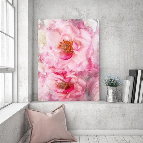 Pink Roses watercolor painting, pretty, Roses Painting, Impressionist Painting, Floral Painting, Modern Painting, Shabby Chic canvas print