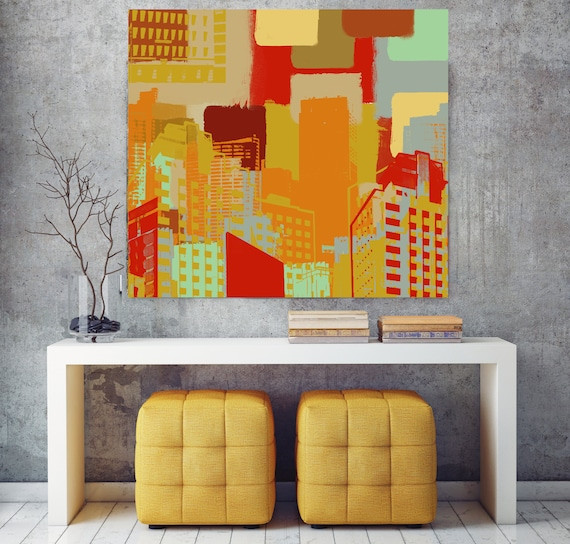 """Modern and Resort Living, Large Architectural Cityscape Canvas Art Print. Colorful Brown URBAN Canvas Art Print up to 48"""" by Irena Orlov"""
