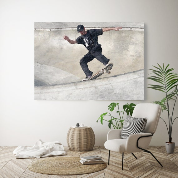 Skating Art, Skateboarder, Skateboard, Watercolor, Wall Art, Watercolor painting, Canvas Art Print,Skating Art Decor, Man On Skateboard