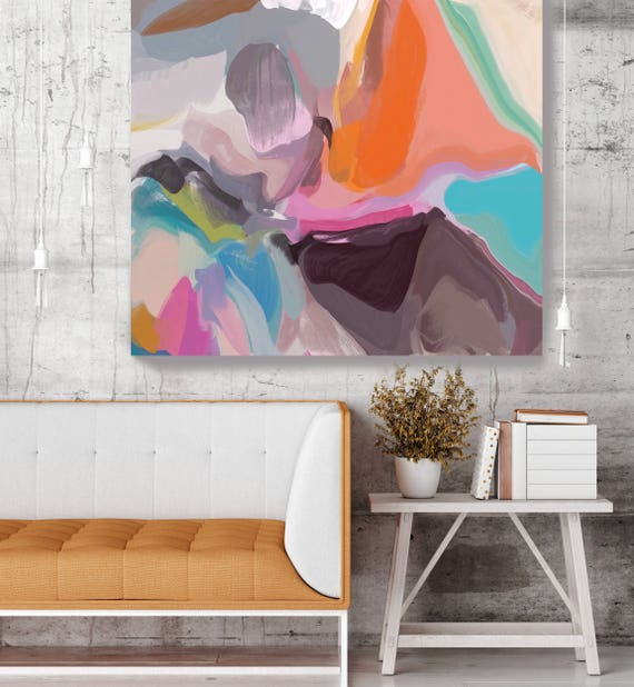 """Concert. Original Oil Painting on Canvas, Contemporary Abstract Orange, Brown, Teal Oil Painting up to 50"""" by Irena Orlov"""