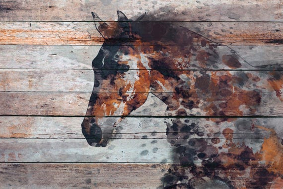 "Fire Horse. Textured Extra Large Horse Art, Equestrian Horse Decor, Brown Rustic Horse, Large One of a kind Canvas Art up to 72"" by Orlov"