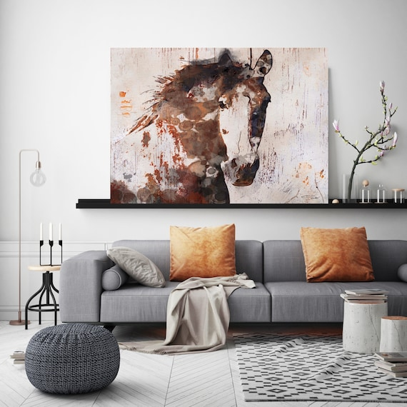 """Gorgeous Brown Horse. Horse Art Large Canvas, Horse Art, Brown Rustic Horse, Rustic Vintage Horse Wall Art Print up to 81"""" by Irena Orlov"""