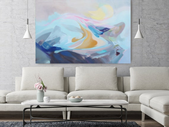 "The Song of Blue Water, Abstract Painting Modern Wall Art Painting Canvas Art Print Art Modern Pink Blue Yellow up to 80"" by Irena Orlov"