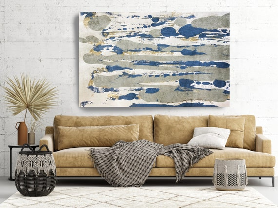 Dancing Colors Gray Gold Blue Abstract Painting  Modern Art Abstract Painting Extra Large Painting Extra Large Abstract Canvas Print