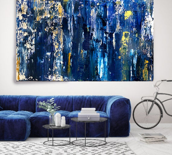 Midnight Blue Gold Abstract Painting Urban Abstract Canvas Print, Blue Abstract Art on Canvas, Textured Painting Canvas Print shades of blue