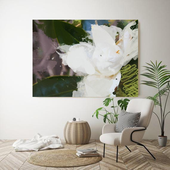 "White Splash. Floral Painting, White Green Abstract Art, Wall Decor Abstract Colorful Contemporary Canvas Art Print up to 72"" by Irena Orlov"