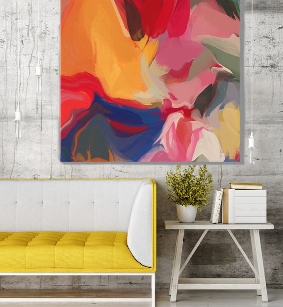 """Volcano. Original One-of-a-kind Oil Painting on Canvas, Contemporary Abstract Yellow, Blue, Red Oil Painting up to 50"""" by Irena Orlov"""