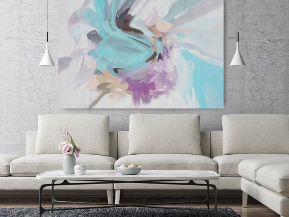 "Delicate Breath, Abstract Painting Modern Wall Art Painting Canvas Art Print Art Modern Purple Blue Yellow up to 80"" by Irena Orlov"