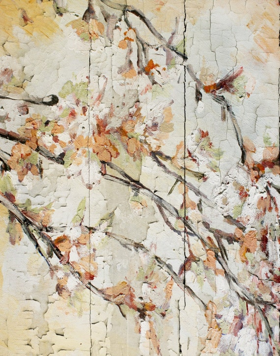 """Blooming cherry 2. Floral Painting, Beige Abstract Art, Wall Decor, Abstract Colorful Contemporary Canvas Art Print up to 72"""" by Irena Orlov"""