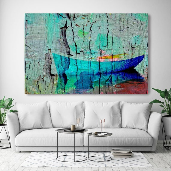 "Blue Rustic Boat. Blue Red Rustic Coastal Canvas Art Print.  Boat on the lake. Canvas Print up to 72"" by Irena Orlov"